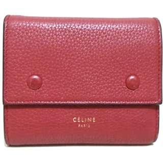 セリーヌ(celine)のセリーヌ 3つ折り財布 レッド レザー(財布)