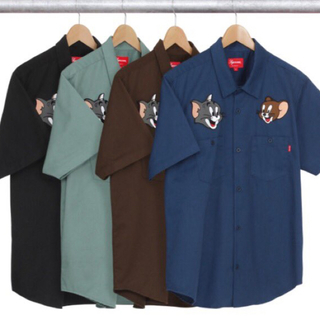 Supreme - supreme tom&jerry work shirt  ネイビー L