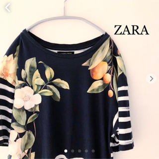 ZARA - ZARA 半袖 Tシャツ ネイビー  花柄 ザラ