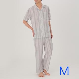 MUJI (無印良品) - 無印良品『脇に縫い目のない細番手二重ガーゼ半袖パジャマ(グレー Mサイズ)』