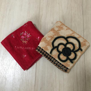LAURA ASHLEY - 【2点セット】フラワー刺繍 ブランド タオルハンカチ
