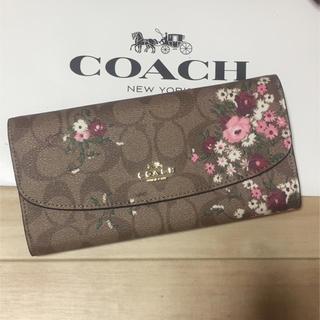 COACH - 新品 [COACH コーチ] 長財布 ピンクの花柄 エンベロープ