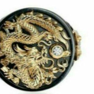 MALI009 ゴールデンドラゴンメンズチベットシルバーリング日本サイズ20号(リング(指輪))