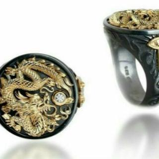 MALI009 ゴールデンドラゴンメンズチベットシルバーリング日本サイズ22号(リング(指輪))