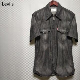 リーバイス(Levi's)のリーバイス☆フルジップハーフウエスタンシャツ 半袖 デニム ユーズド加工 L 黒(シャツ)