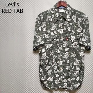 リーバイス(Levi's)のリーバイス☆ハーフウエスタンシャツ 半袖 アロハ フラップボタン L 緑×白(シャツ)