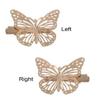 蝶々 ヘアクリップ  ヘアアクセサリー バタフライ 左右ペア2セット 合計4点(バレッタ/ヘアクリップ)