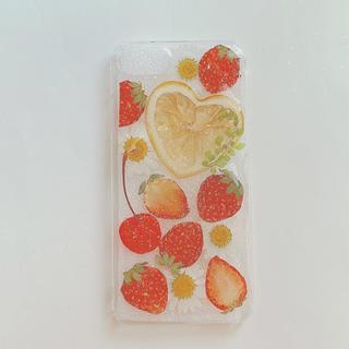 ★完成品★iPhone7/8・SE2対応★ハートレモンといちご押し花スマホケース