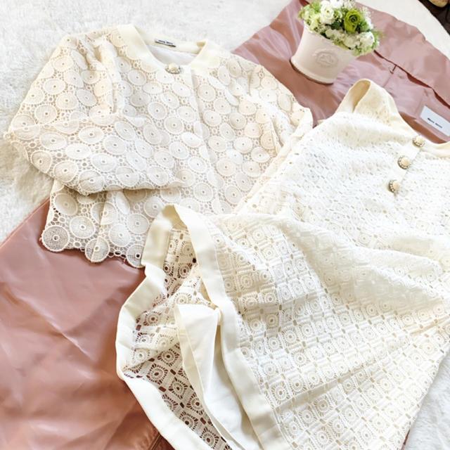 miumiu(ミュウミュウ)の極美品 ミュウミュウ カットワーク エンブロイダリー スーツ ワンピース レディースのフォーマル/ドレス(スーツ)の商品写真