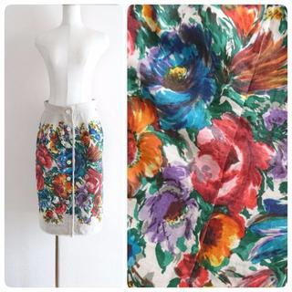 ドルチェアンドガッバーナ(DOLCE&GABBANA)のsale★D&G★華やかなフラワープリントが素敵♪リネンスカート(ロングスカート)