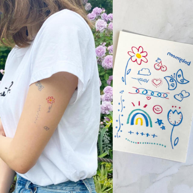 タトゥーシール 【ブルー】 韓国 消えるタトゥー レディースのアクセサリー(その他)の商品写真