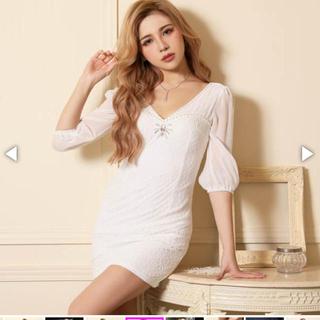 dazzy store - 異素材MIXパールライン入りシフォン七分袖付きタイトミニドレス