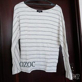 オゾック(OZOC)のOZOCレースボーダートップス(カットソー(長袖/七分))