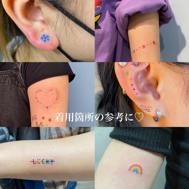 タトゥーシール 【クレヨン】 韓国 消えるタトゥー レディースのアクセサリー(その他)の商品写真