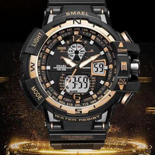 【新品送料無料】メンズ腕時計デジタル多機能メンズLEDブラック×ゴールド(腕時計(デジタル))