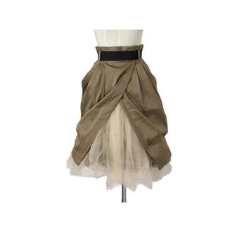 ランバンオンブルー(LANVIN en Bleu)のLANVIN チュールレースドッキング変形スカート(ひざ丈スカート)