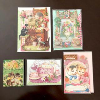 フランフラン(Francfranc)の猫ちゃん他♡ 輸入 可愛いカード4枚セット+おまけメモ帳(カード/レター/ラッピング)
