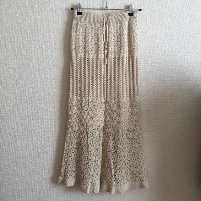 GU(ジーユー)の透かし編みニットスカート レディースのスカート(ロングスカート)の商品写真