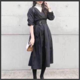 FRAY I.D - 新品 ブラック カシュクール Vネック マキシワンピース 9800円→