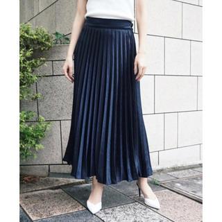 ZARA - Myshawty lady satin skirt プリーツスカート ネイビー