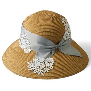 ジャル(ニホンコウクウ)(JAL(日本航空))の麦わら帽子 レディース 手洗い可能なブレードレース冷んやり帽子 折りたたみ(麦わら帽子/ストローハット)