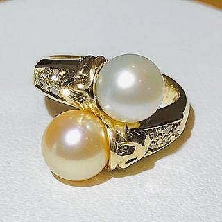 三越 - ☆K18台 ホワイト&ゴールデンパール&ダイヤ付きリング☆