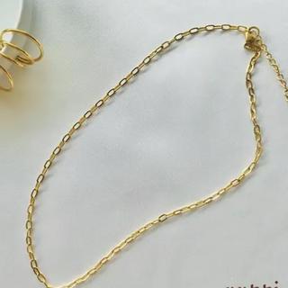 ネックレス チョーカー チェーン ゴールド 18k シンプル 華奢 トレンド(ネックレス)