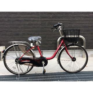 パナソニック(Panasonic)の地域限定 ビビDX 新基準 バッテリー新品 子供乗せ 赤 神戸市 電動自転車(自転車本体)
