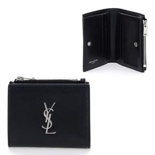 Saint Laurent - 新品 サンローラン モノグラム ロゴ 2つ折り レザー財布