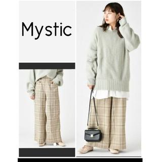 ミスティック(mystic)のMystic チェック柄 茶×水色 ワイドパンツ(カジュアルパンツ)
