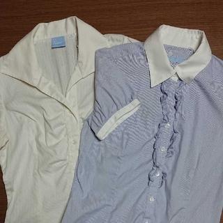 スーツカンパニー(THE SUIT COMPANY)のザ・スーツカンパニー☆スーツブラウス2枚セット ワイシャツ レディース 36青白(スーツ)