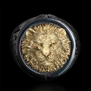 MALI016 ライオンキングメンズ黒金銀メッキリング日本サイズ22号(リング(指輪))
