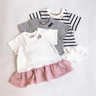 petit main - プティマイン 120 バックフリルペプラムTシャツ