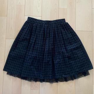 ノーリーズ(NOLLEY'S)のブラックチェックチュールスカート(ひざ丈スカート)