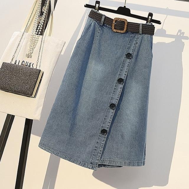 大きいサイズ レディース Tシャツ&巻きスカート風デニムパンツ レディースのパンツ(キュロット)の商品写真