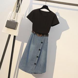 大きいサイズ レディース Tシャツ&巻きスカート風デニムパンツ