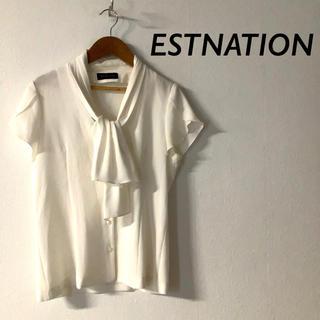 ESTNATION - ESTNATION シースルー ボウタイ ブラウス オフホワイト