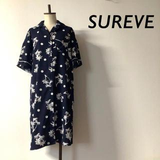 SUREVE ヤシの木柄 パジャマ シャツワンピース パイピング ネイビー(ひざ丈ワンピース)