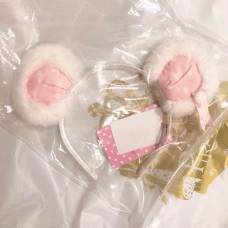 Angelic Pretty - はにかみベアーカチューシャ シロxピンク