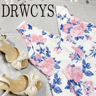 ドロシーズ(DRWCYS)のドロシーズ ホワイト フラワー バラ ひざ丈ワンピース ノースリーブ Sサイズ(ひざ丈ワンピース)
