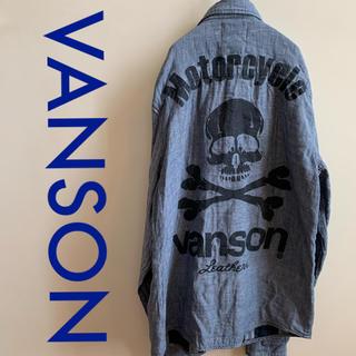 バンソン(VANSON)のVANSON スカル チェック シャツ グレー サイズM(シャツ)