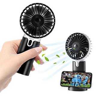 ブラック2020年NEW モデル ハンディファン 携帯扇風機 充電式 手持ち扇風(扇風機)