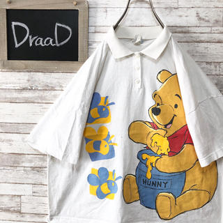 ディズニー(Disney)の【古着】ディズニー くまのプーさん ビッグプリント ポロシャツ L(ポロシャツ)