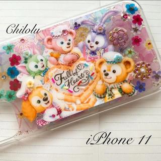 【即購入可】ダッフィーフレンズ押し花ケース*iPhone11対応