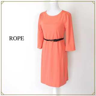 ROPE - ロペ★春色 七分袖 ベルト付き 膝丈 ワンピース オレンジ 36(S) 華やか