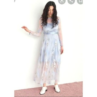 fur fur - FURFURミモザエンブロイダリー刺繍ワンピースドレス フラワー花柄シースルー