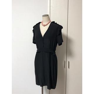 サンドロ(Sandro)のsandro サンドロ シルク リトルブラック ドレス ワンピース フリル(ひざ丈ワンピース)