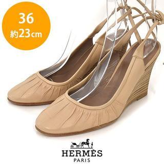 Hermes - エルメス バックリボン ウェッジソール パンプス 36(約23cm)