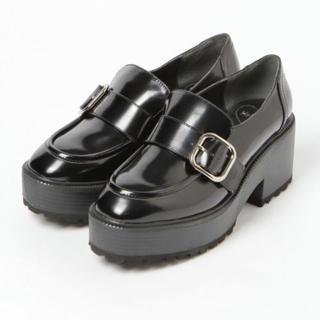 ヘザー(heather)のヘザー バックヒールマニッシュ ブラック(ローファー/革靴)
