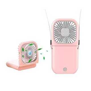 ピンクミニ 首掛け扇風機 USB充電式 携帯扇風機 大容量 持ち運び便利 3段階(扇風機)
